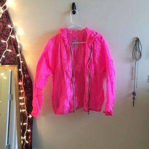 Neon pink windbreaker
